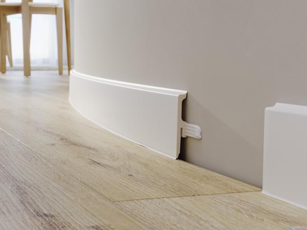 Sockelleiste 60mm Vigo | Weiß RAL 9003 | flexibel | Dichtlippen