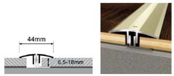 Duo- Übergangsprofil 1300 x 34 mm | 6,5 - 18 mm Höhe | Edelstahl